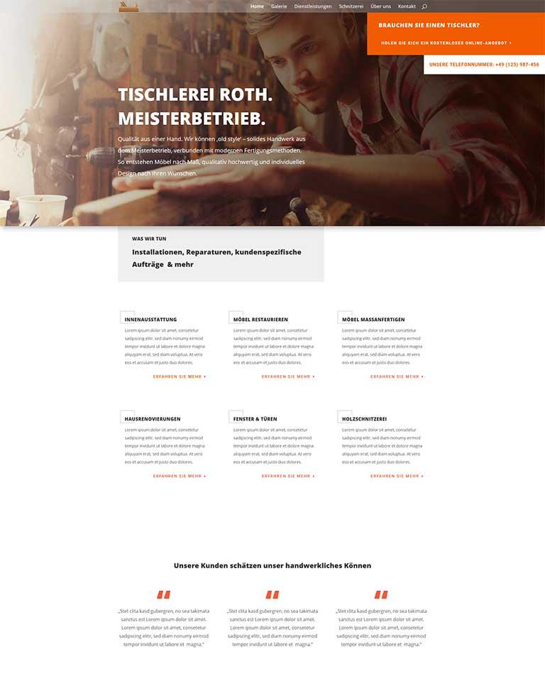 Website für eine Tischlerei